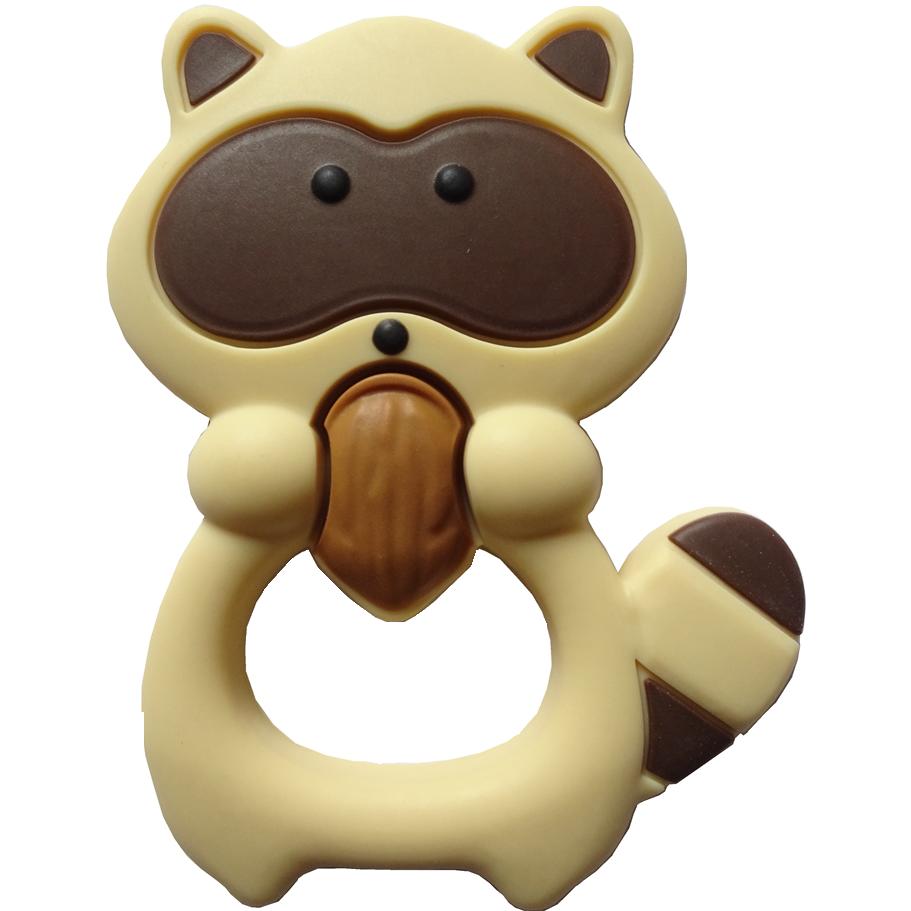 Grey Raccoon Silicone Baby Teether Soother Bendable Teething Toy