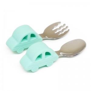 Silicone Spoon And Fork Set Animal Cartoon Newborn l Melikey