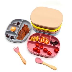 Silikon Toddler Plate Yeməklər Bölünmüş Yemək OEM l Melikey